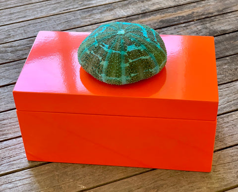 Large Orange Lacquer Box with Turquoise Blue Urchin
