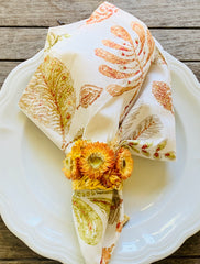 Gold Leaf Ornate Napkin Rings with Botanical Dried Flowers in Orange / Yellow (Set of 4)