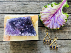 Small Square Onyx Box with Amethyst Crystal