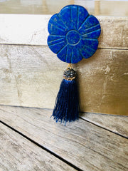 Large Brushed Gold Box w/ Lapis Flower Knob and Tassel