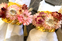Gold Leaf Ornate Napkin Rings with Botanical Dried Flowers in Pink (Set of 4)