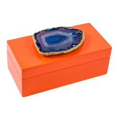Medium Orange Lacquer Box with Blue Agate