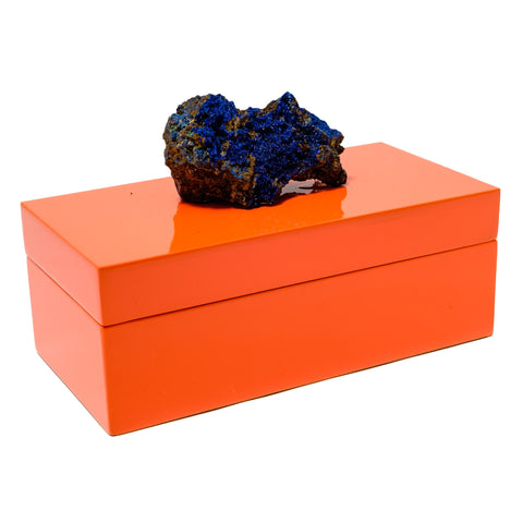 Medium Orange Lacquer Box with a Azurite Specimen