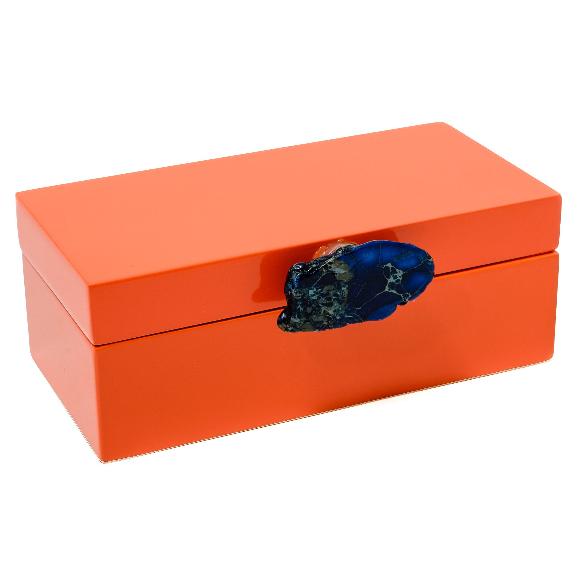 Medium Orange Lacquer Box with Blue Jasper Knob