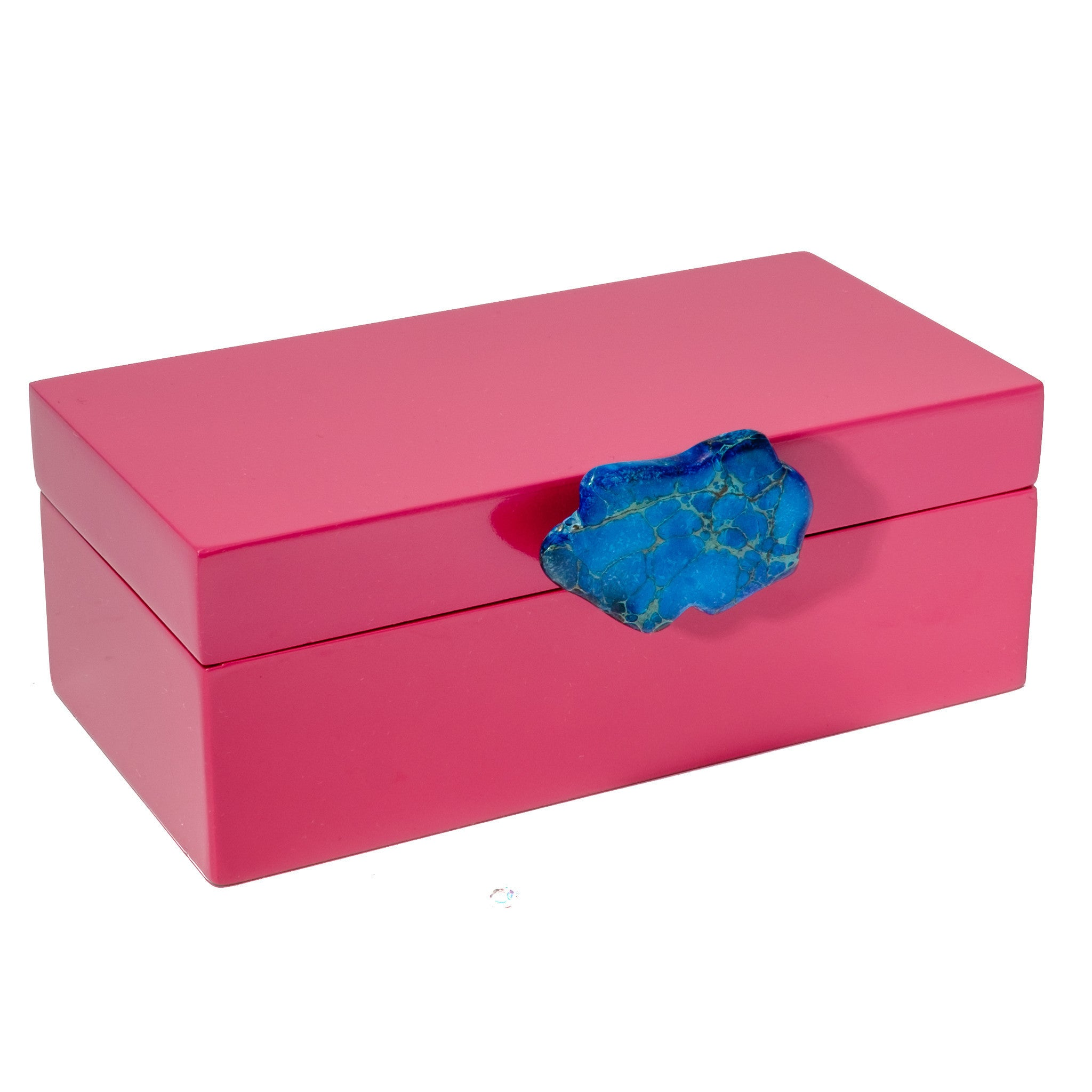 Medium Pink Lacquer Box with Blue Jasper Knob