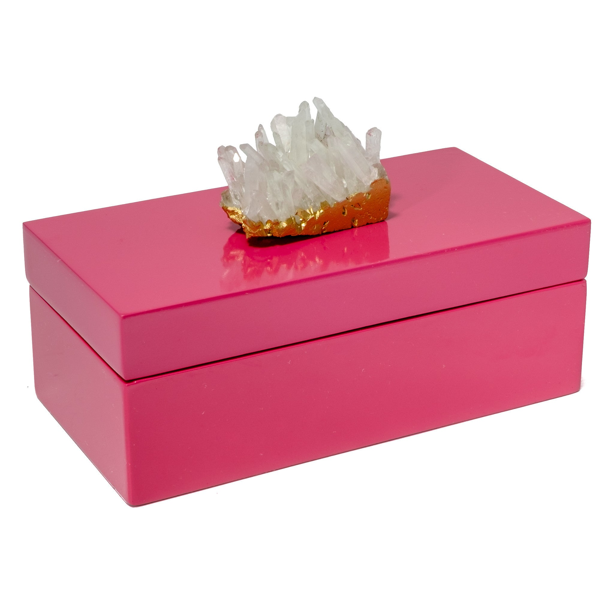 Medium Pink Lacquer Box with Himalayan Crystal