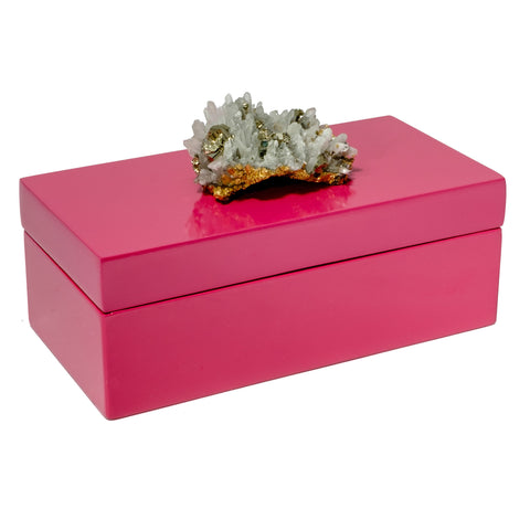 Medium Pink Lacquer Box with Pyrite Quartz Crystal