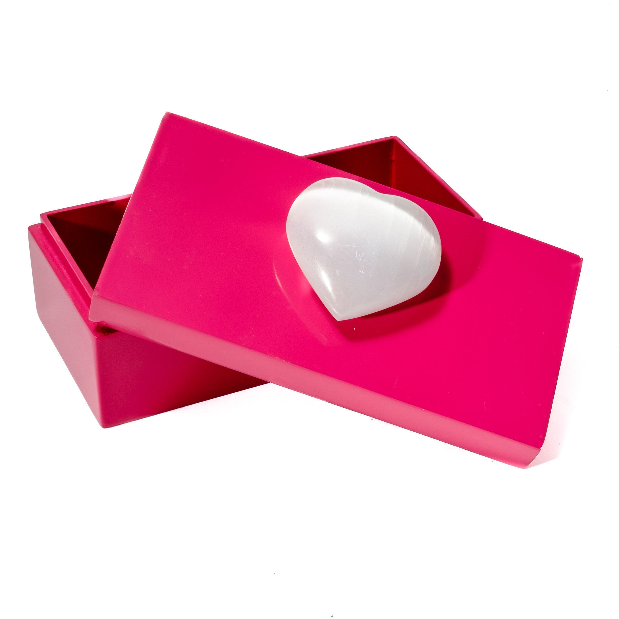 Medium Pink Lacquer Box with Selenite Heart