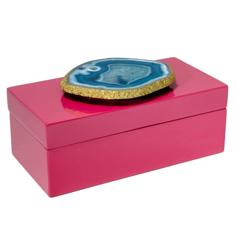 Medium Pink Lacquer Box with Teal Agate