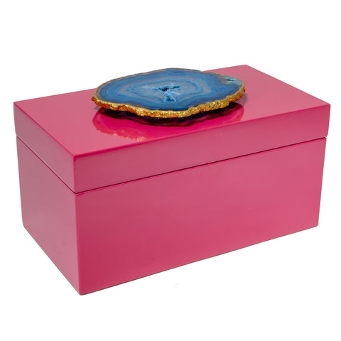 Large Pink Lacquer Box with Blue Agate
