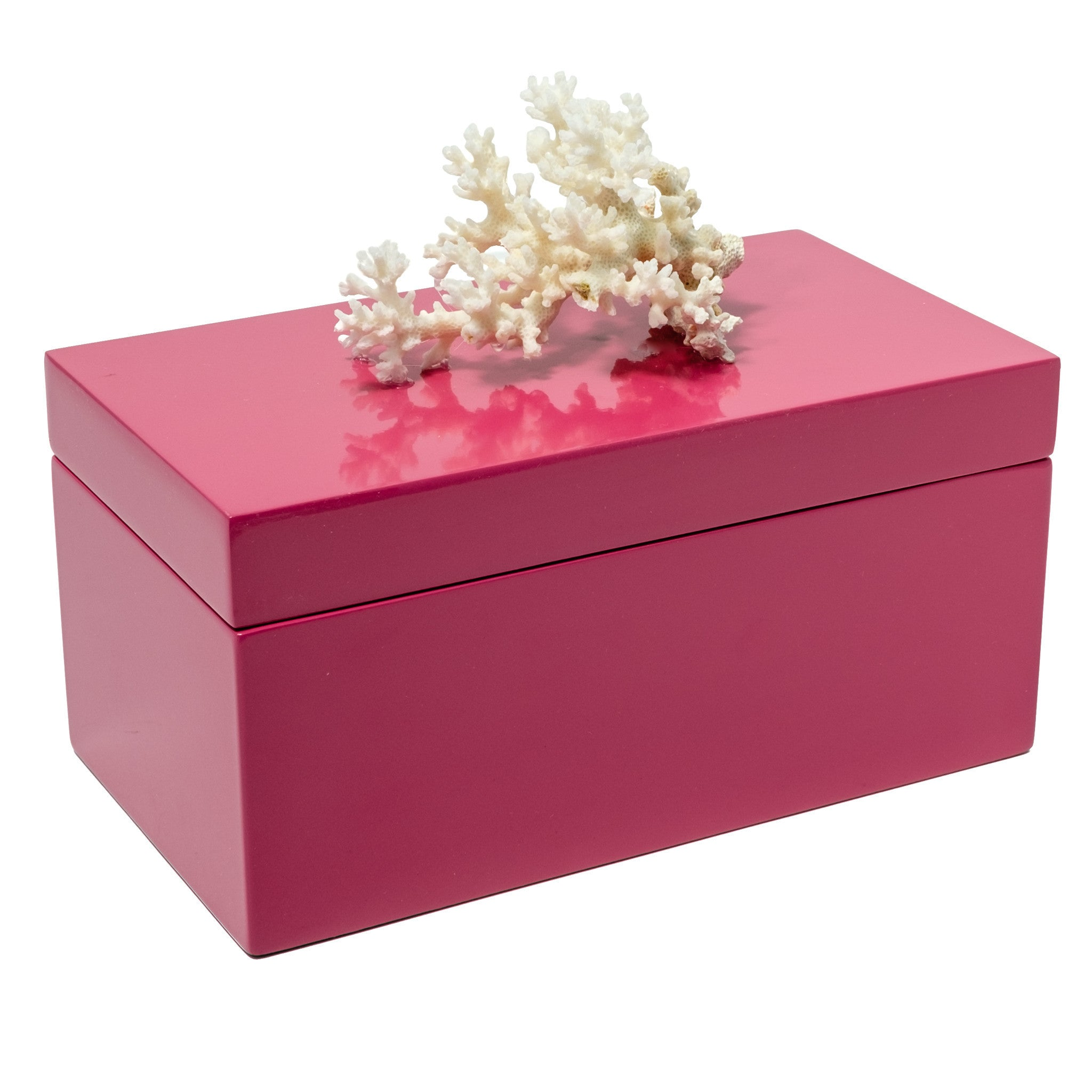 Large Pink Lacquer Box with Coral