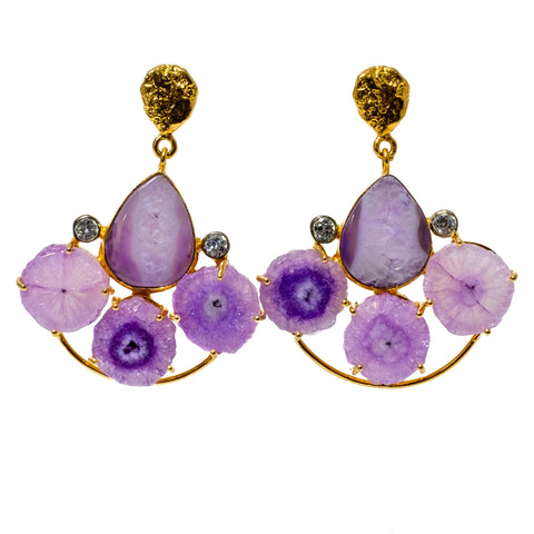 Purple Solar Quartz and Agate Fan Earrings
