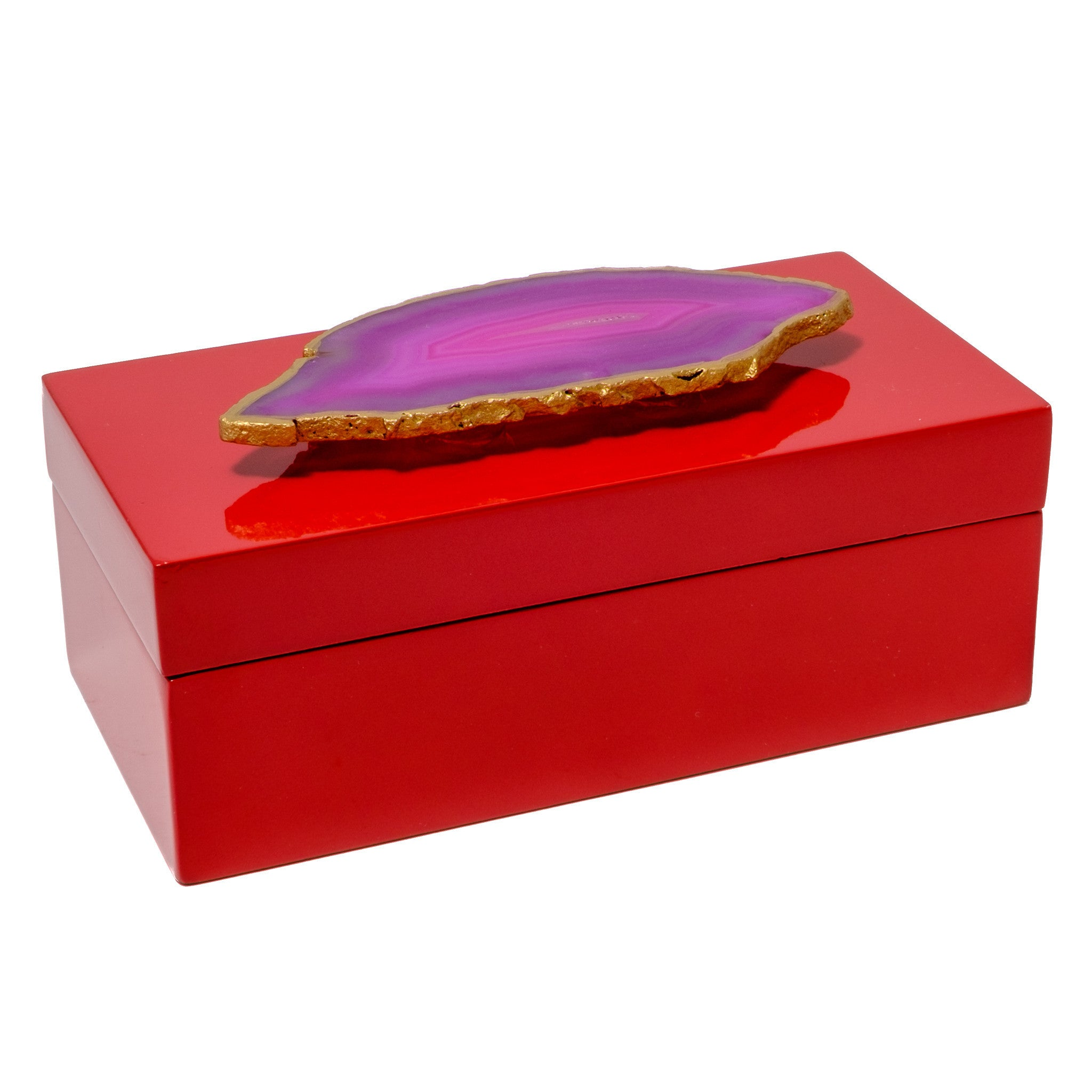 Medium Red Lacquer Box with Pink Agate