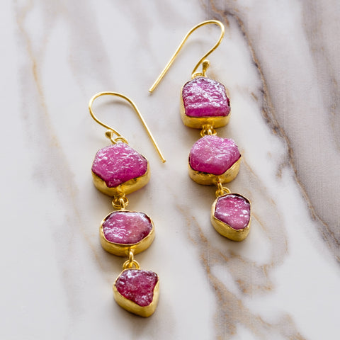 Pink Ruby Three Ladder Earrings