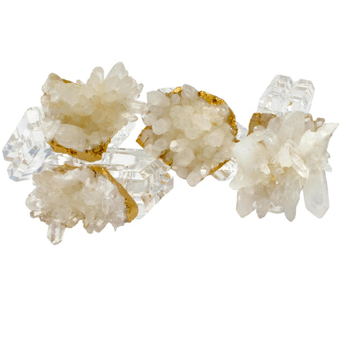 (set of 4) Napkin Rings w/ Himalayan Crystal by Mapleton Drive