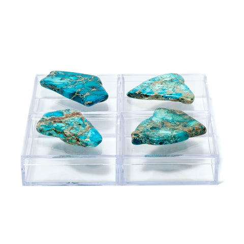 Acrylic Pill Boxes w/ Turquoise Jasper (set of 4)