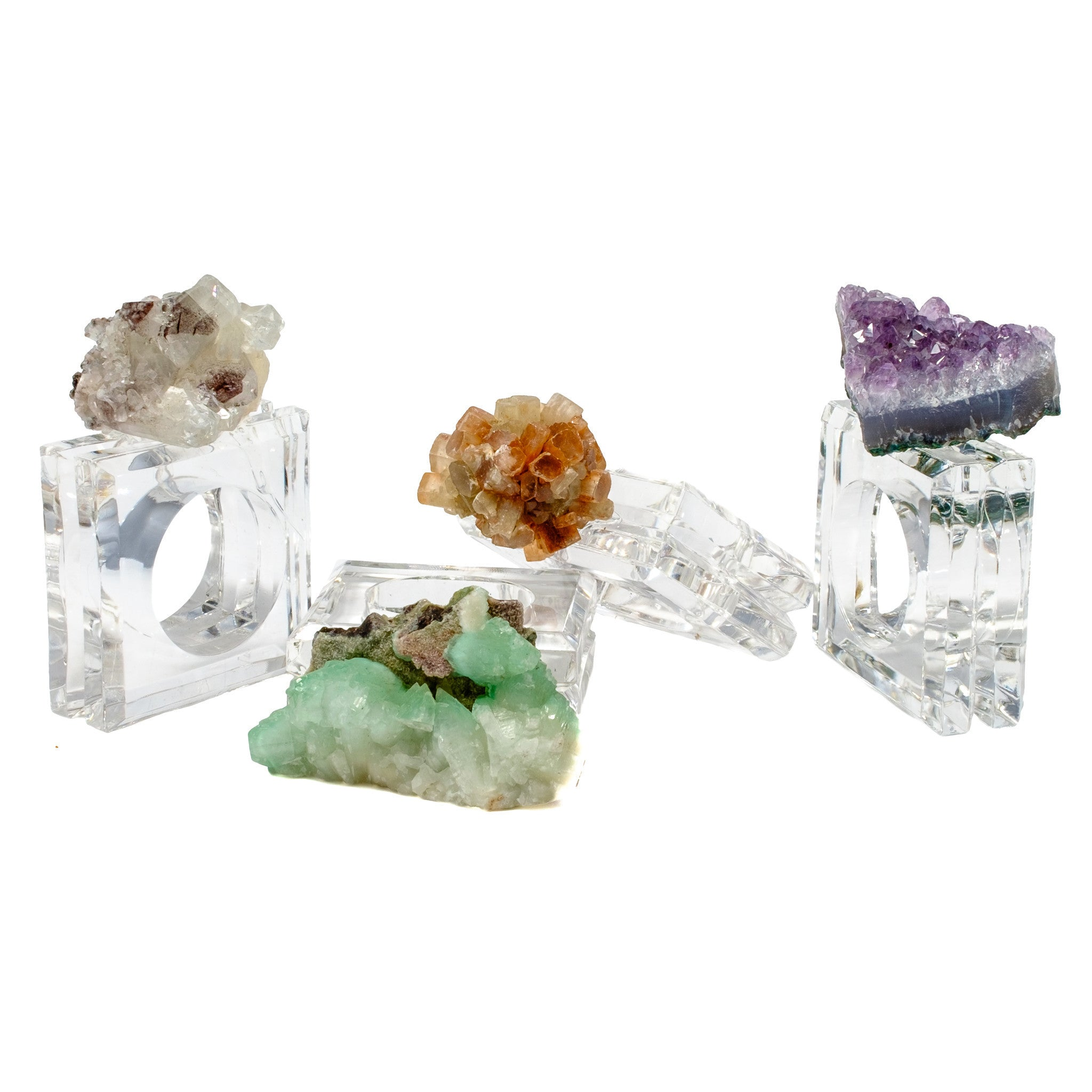 (set of 4) Mixed Mineral Napkin Rings