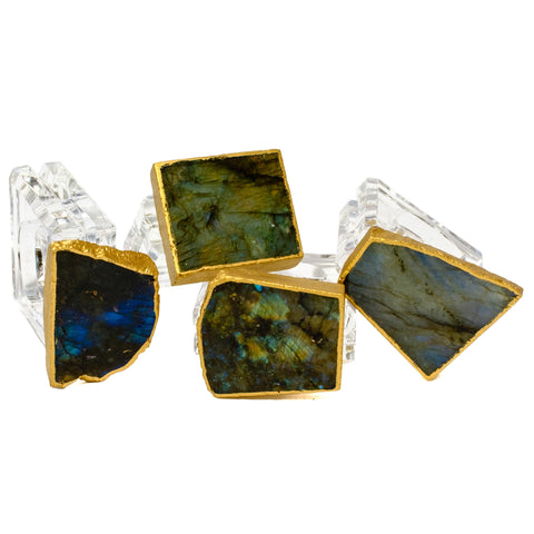 (set of 4) Labradorite Napkin Rings