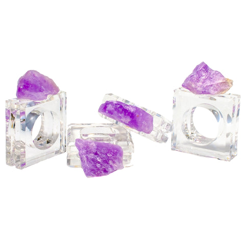 (set of 4) Rough Amethyst Napkin Rings in Bodacious