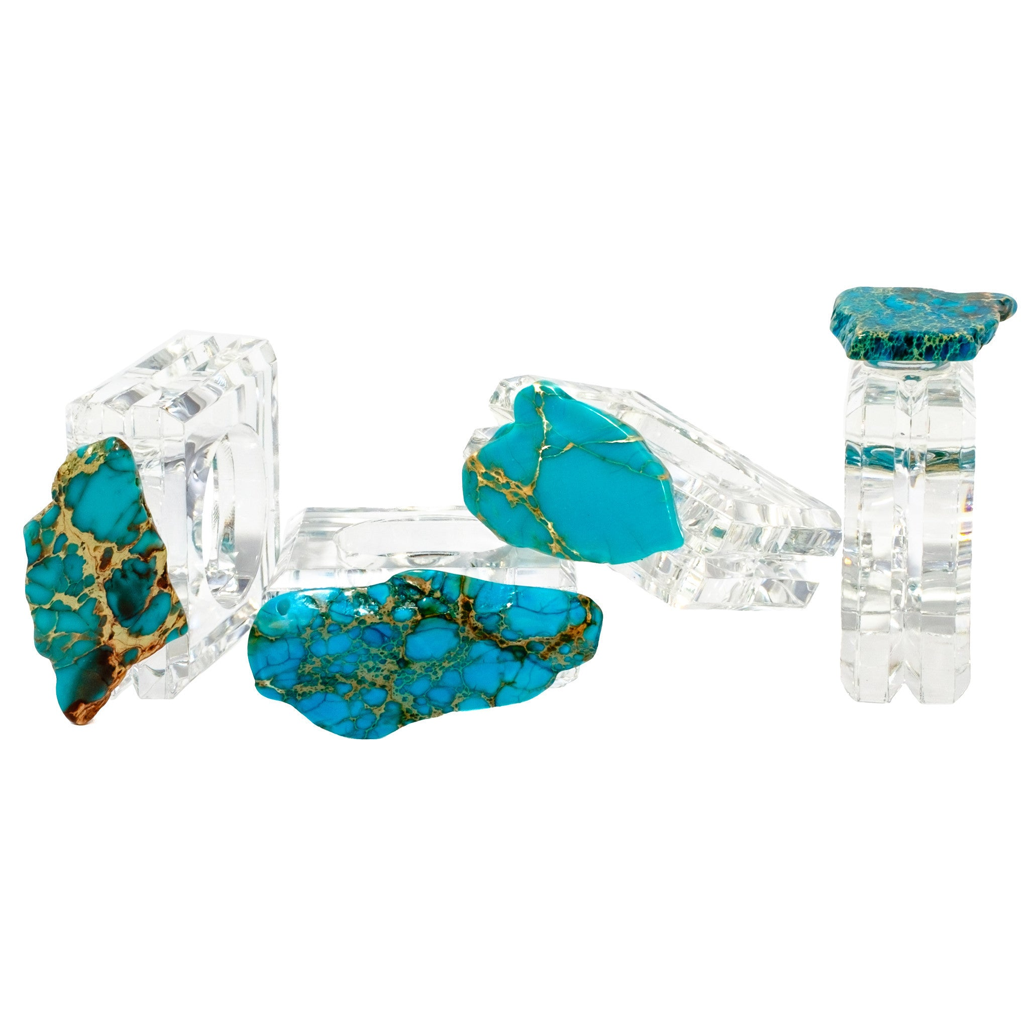 (set of 4) Turquoise Jasper Napkin Rings