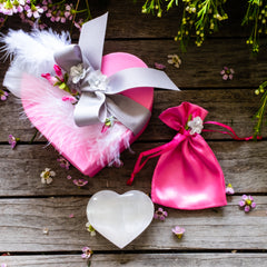 Heart Rock Candy Box with Selenite heart and pink silk bag by Mapleton Drive
