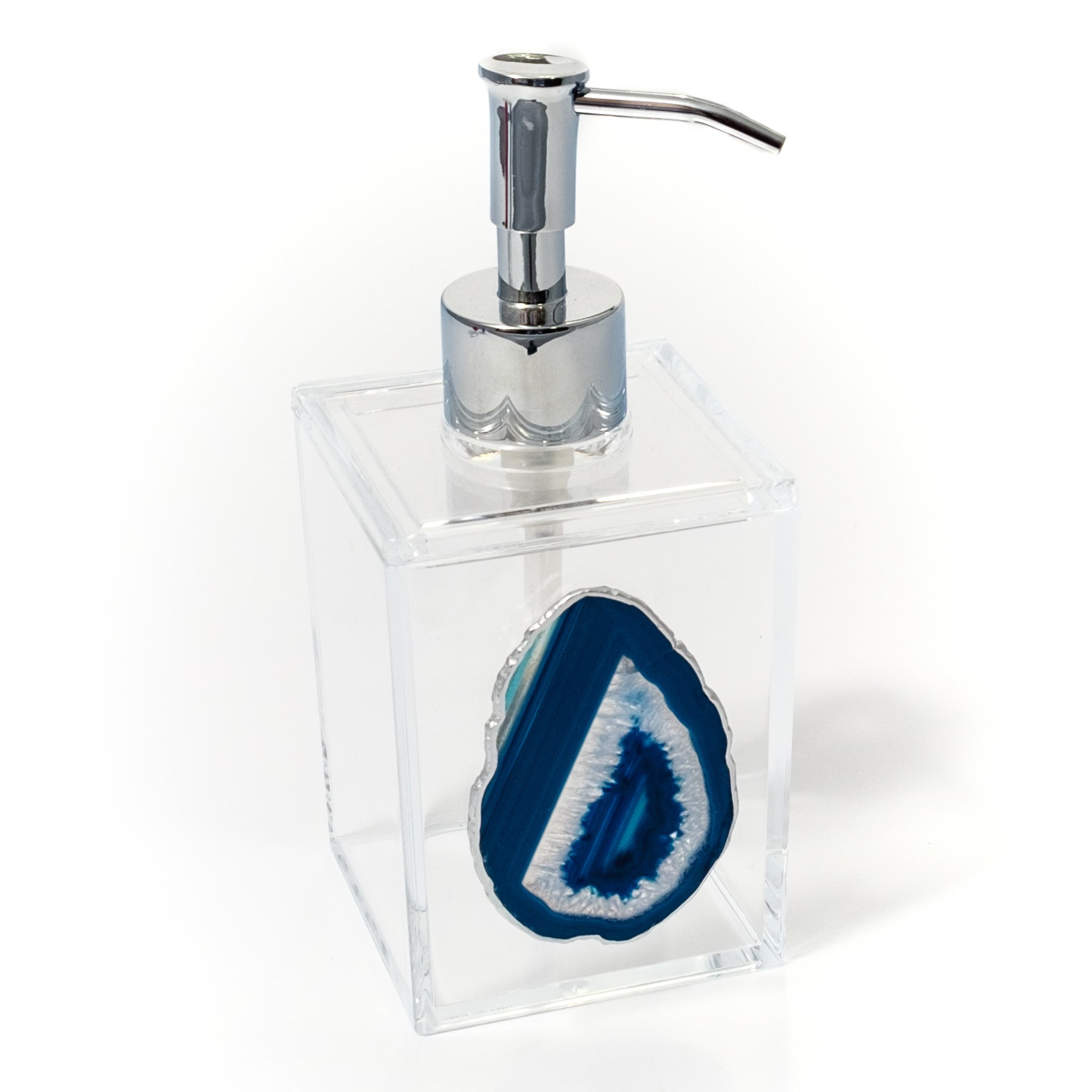 Charmant Acrylic Soap Dispenser W/ Blue Agate By Mapleton Drive