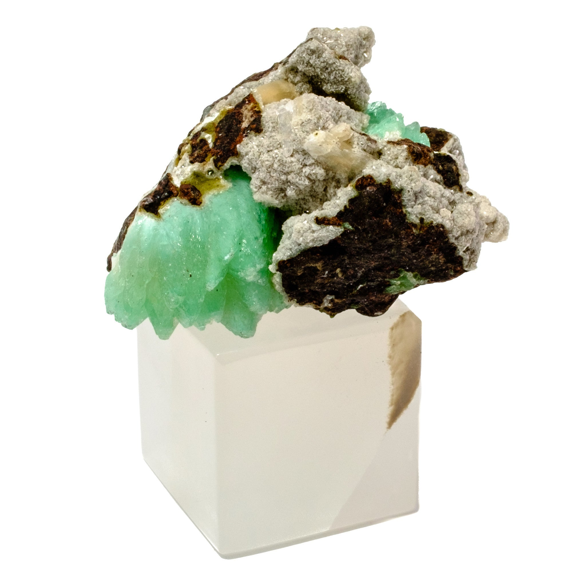 Green Apophyllite Crystal w/ Onyx Stand Paper Weight