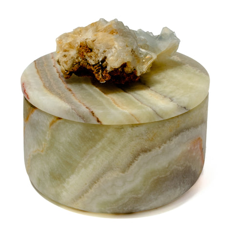 Small Round Green Banded Onyx Box with Baryte-Cerusite Mineral