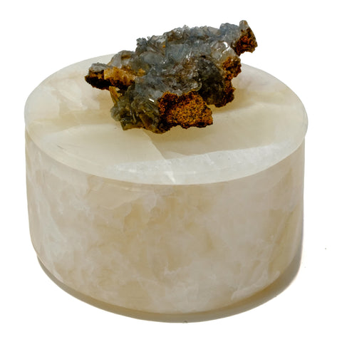Small Round Onyx Box with Baryte-Cerusite Mineral Specimen