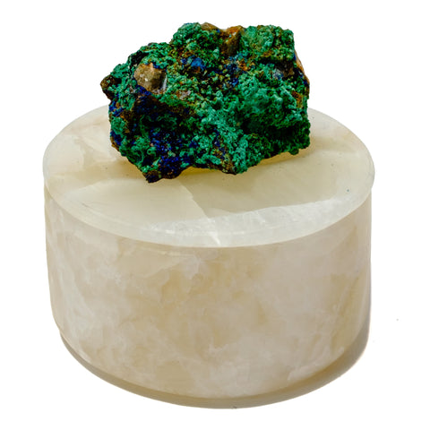 Small Round Onyx Box with Malachite Specimen