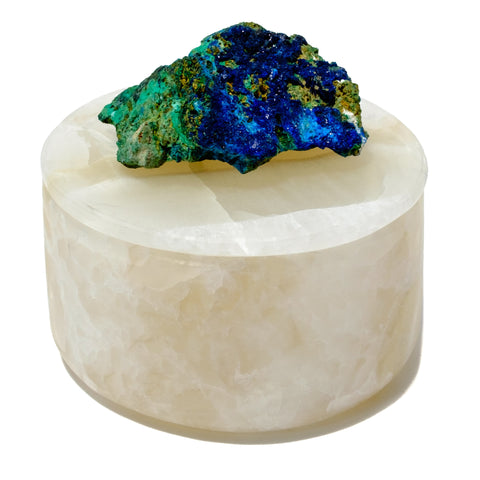 Small Round Onyx Stone Box with Azurite and Malachite Specimen