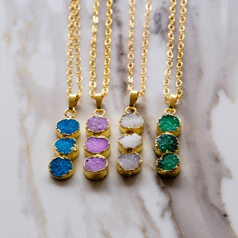 Drusy Three Dot Necklace