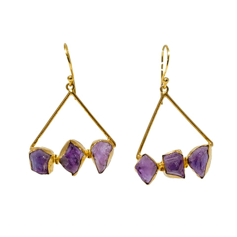 Rough Cut Amethyst Triangle Earrings