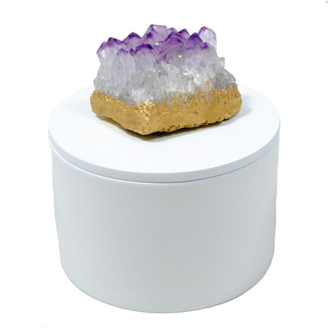 Round White Lacquer Box with Amethyst