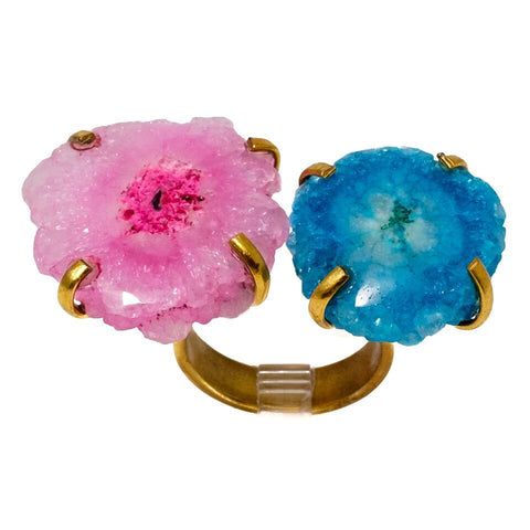 Double Solar Quartz Ring in Pink and Blue
