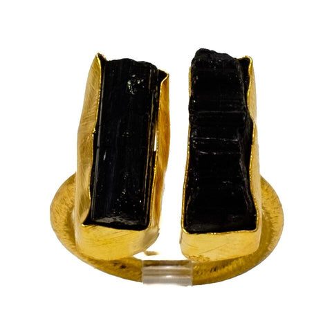 Double Black Tourmaline Bar Ring