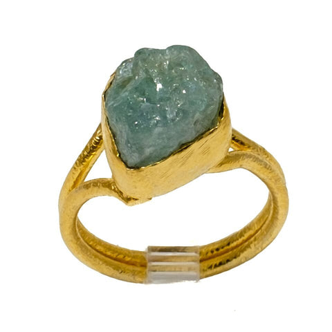 Aquamarine Gemstone Ring With Adjustable Band