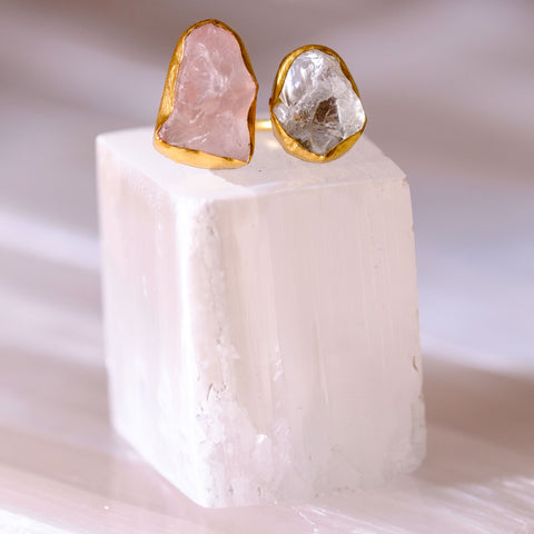 Double Rose Quartz and Aquamarine Ring