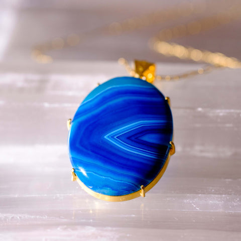 Ocean blue agate pendant necklace in gold plate prong setting.