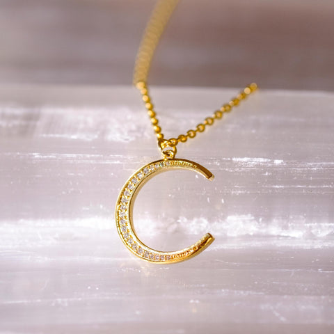 Gold Moon W/ Micro Pave Necklace.