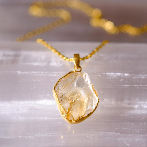 Citrine rough cut gemstone necklace