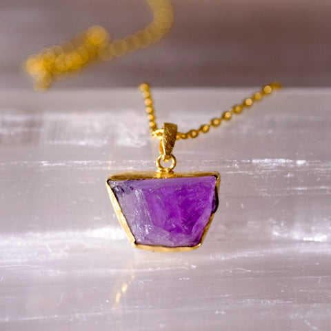 amethyst rough cut gemstone necklace