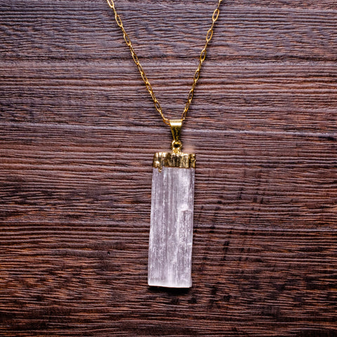 Selenite Drop Pendant Necklace in Silver Plate