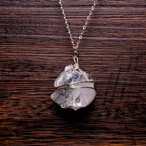 Apophyllite gray wire wrapped pendant necklace