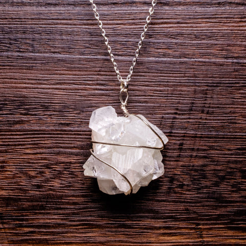 Apophyllite white wire wrapped pendant necklace