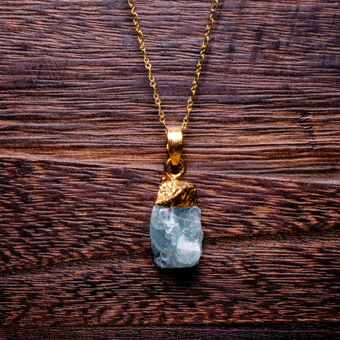 Aquamarine Rough Cut Necklace