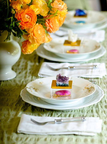Metallic Gold Gem Box w/ Amethyst for your next luncheon