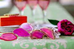 pink agate napkin rings by Mapleton Drive