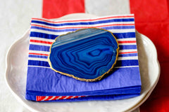 Blue agate coasters for your tablescape by Mapleton Drive