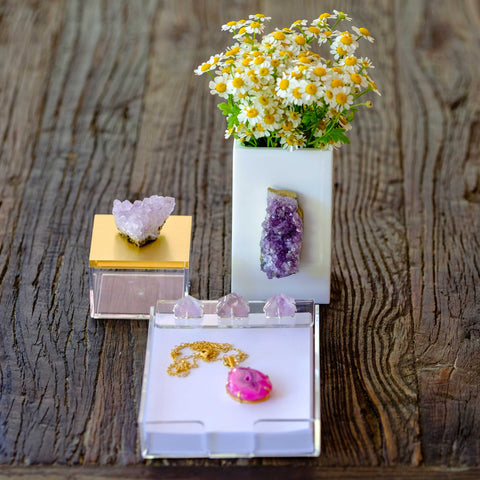 gold acrylic gemmy box with amethyst by Mapleton Drive